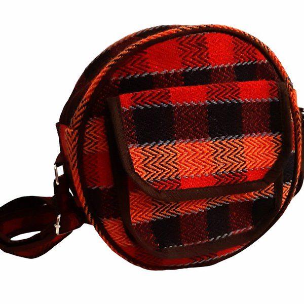 کیف دوشی جاجیمی گرد قرمز