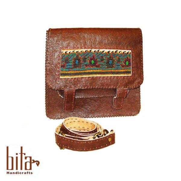 کیف دوشی زنانه چرم مستطیل پته دار