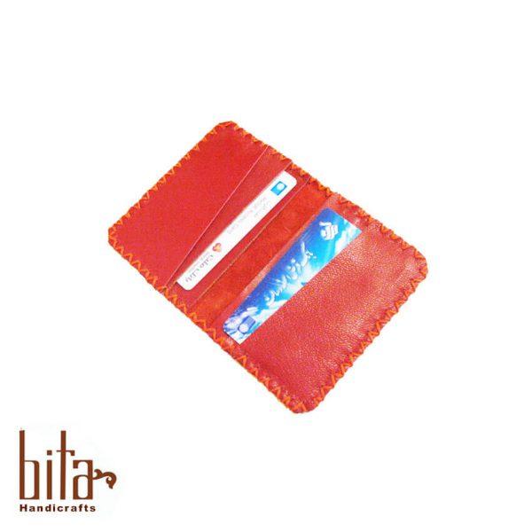 کیف کارت چرم قرمز
