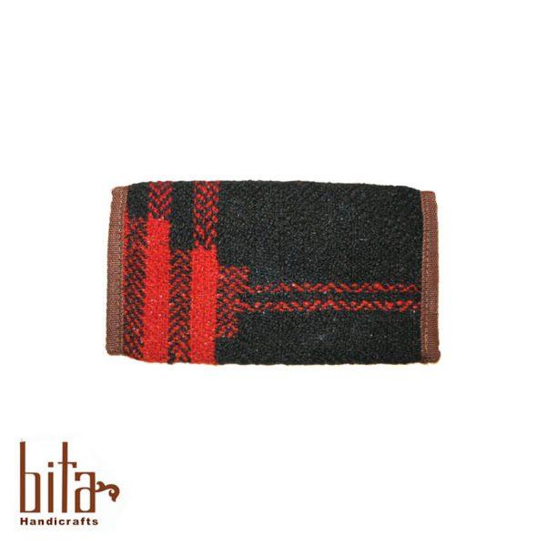 کیف پول جاجیمی مشکی با خط قرمز