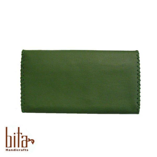 کیف پول لب کج چرم سبز ساده 1