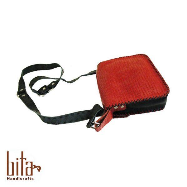 کیف چرم دوشی قرمز دو رنگ