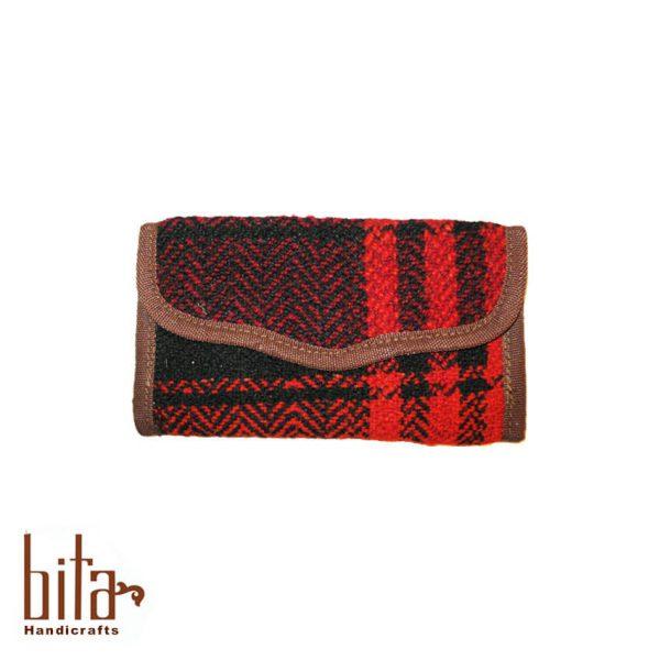 کیف پول جاجیمی مشکی با خطوط قرمز