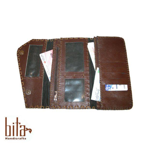 کیف پول لب کج چرم قهوه ای 3