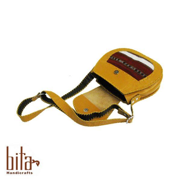 کیف چرم دوشی بیضی زرد