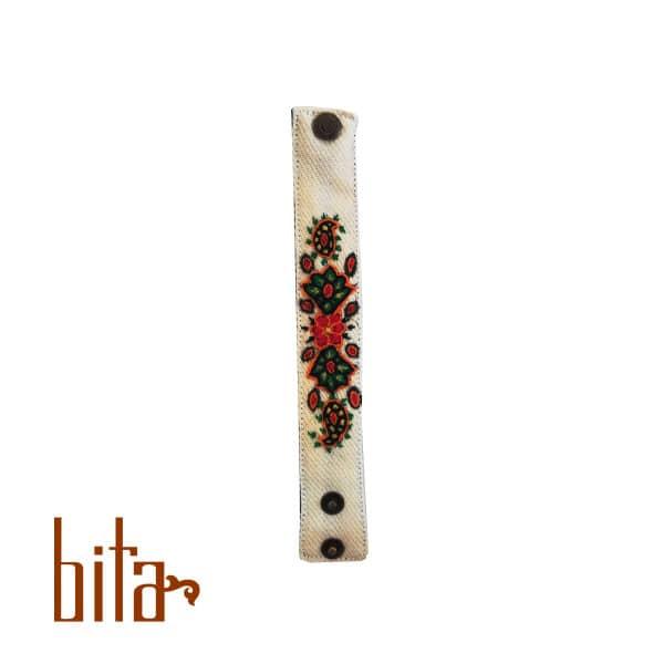 دستبند پته سفید گل قرمز