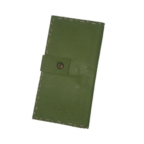 کیف پول چرم سبز چرک
