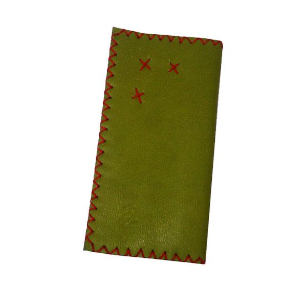کیف پول ساده چرم سبز روشن