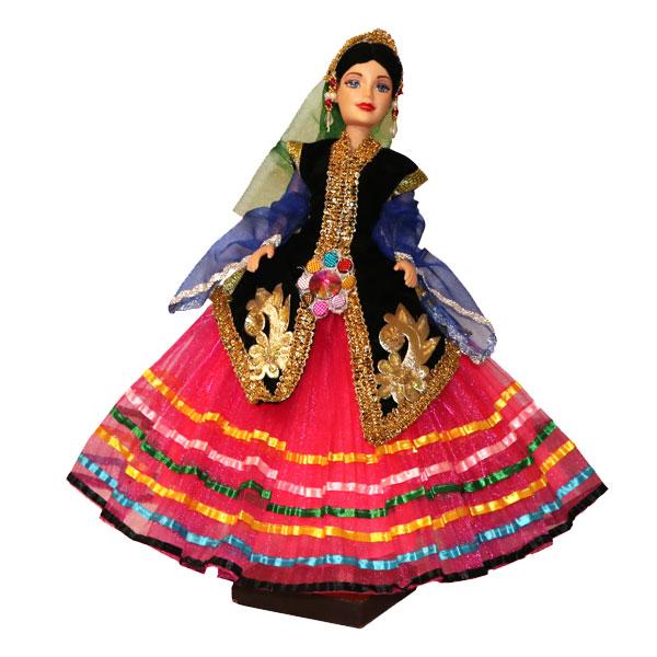 عروسک سنتی بانو با دامن صورتی