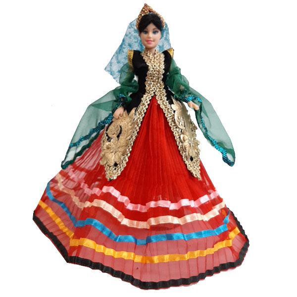 عروسک سنتی دخت با دامن قرمز