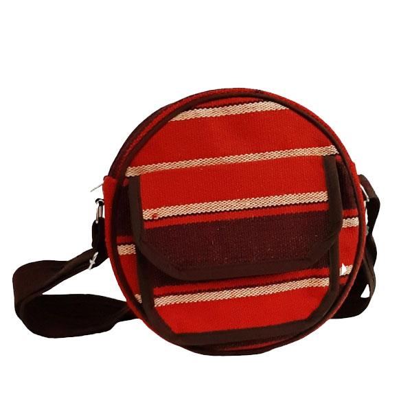 کیف دوشی جاجیمی قرمز خطی